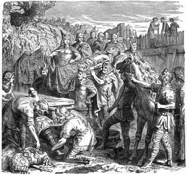 Аларихова сахрана у кориту реке Бусенто. Литографија из 1895. године