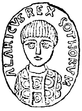 Аларихов печат са латинским натписоm: //Alaricus Rex Gothorum//. Није сигурно да ли је у питању Аларих I или Аларих II.