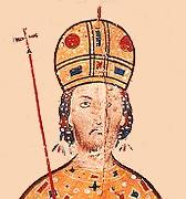 Детаљ портрета **цара Андроника III Палеолога** (1328—1341), минијатура из 14. века у рукопису који се чува у Виртембершкој библиотеци у Штутгарту.