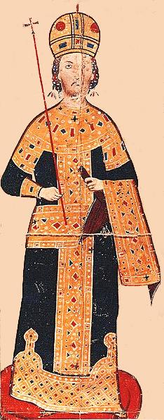 Портрет цара Андроника III Палеолога (1328—1341), минијатура из 14. века у рукопису који се чува у Виртембершкој државној библиотеци у Штутгарту.