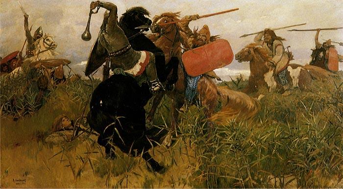 **Виктор Васнецов**, Бој Скита са Словенима, уље на платну из 1881. године. Романтичарски приказ из 19. века.