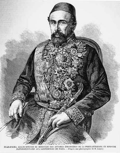 **Фуад-паша** (1814—1868), Портин министар спољних послова и један од најзначајнијих турских државника половином 19. века. Гравира Жистава Л'Греја (фр. Gustave Le Gray), L'Illustration, 10. јул 1858.