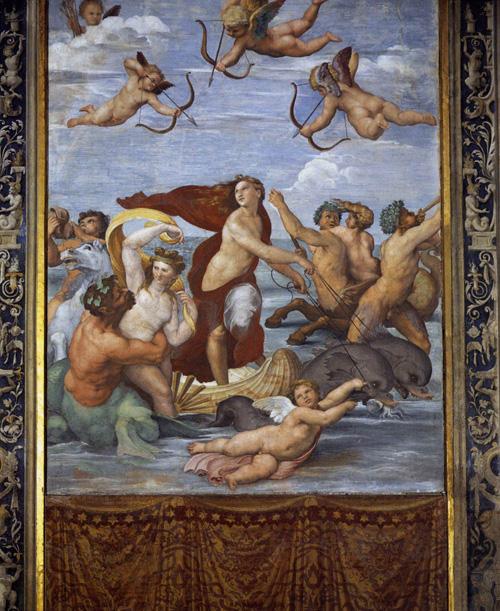Галатеја, 297 cm × 224 цм, фреска, Вила Фарнезина, Рим. Рафаел, око 1512. године