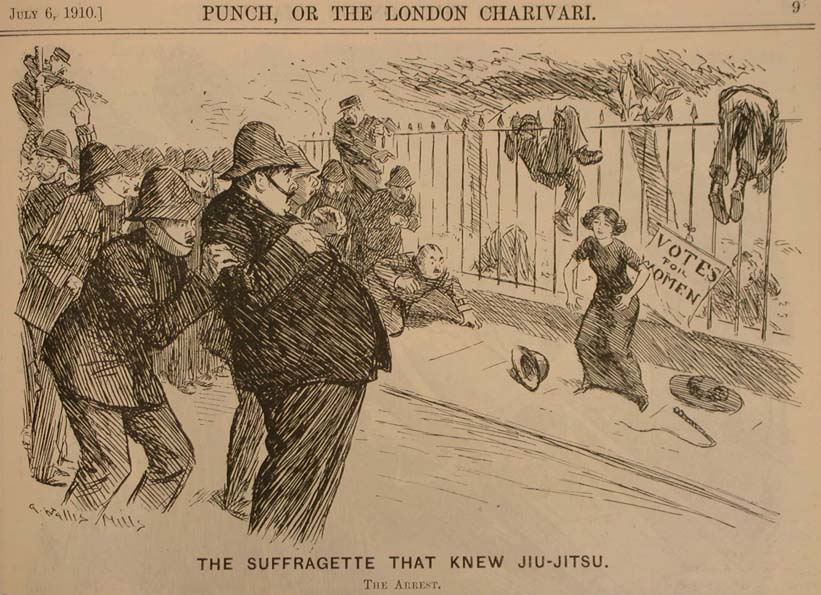 Сифражеткиња савладава сама групу полицајаца у борби прса у прса, карикатура објављена 1910. у часопису Панч.
