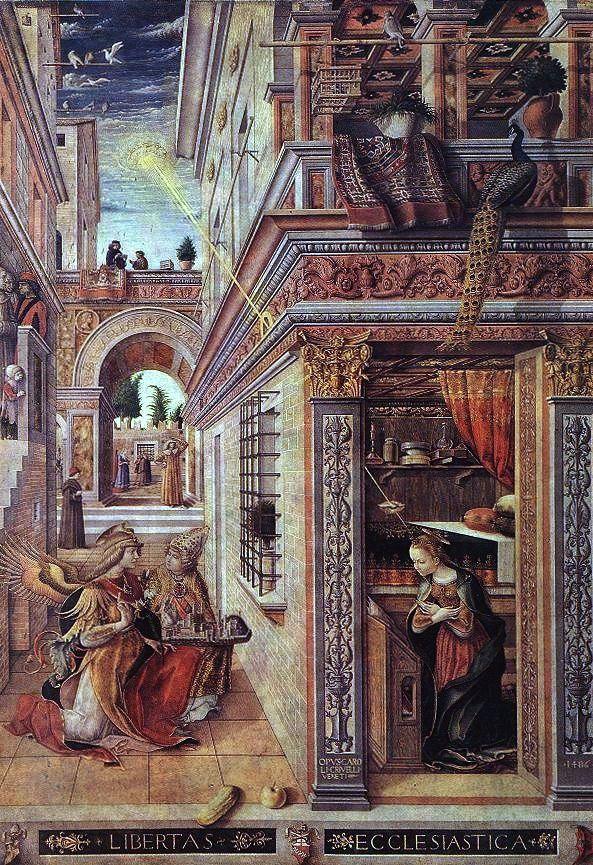 **Карло Кривели**, Благовести са светим Емидијем, 1486. година. Према речима Жана Делимоа, девојчица уз леву ивицу слике, најмањи лик на слици, симболише стидљиво ступање детињства на историјску сцену ране модерне Европе.