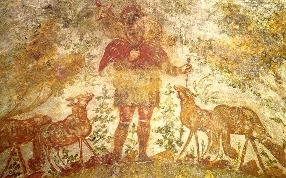 Фреска Христа представљеног као божјег пастира, катакомбе Св. Домитиле (Рим, 3. век).