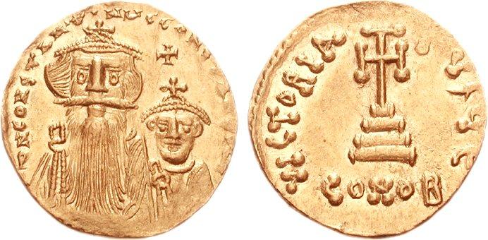 Златни новчић са ликом Констанса Погоната са брадом, и Константина без браде.