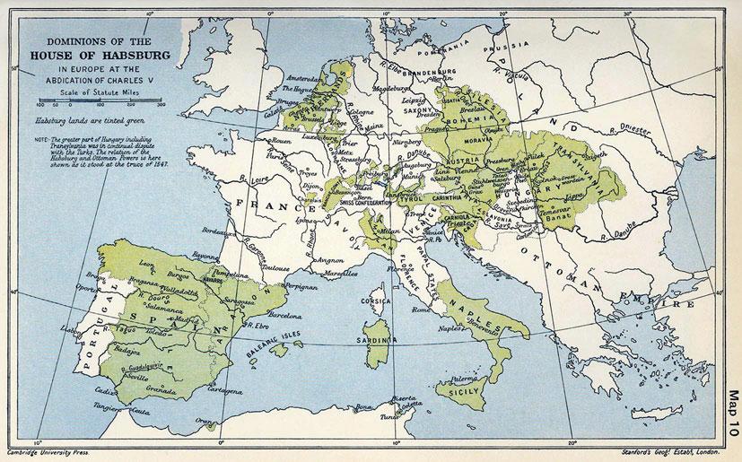 Карлови поседи у Европи у тренутку абдикације (1547)