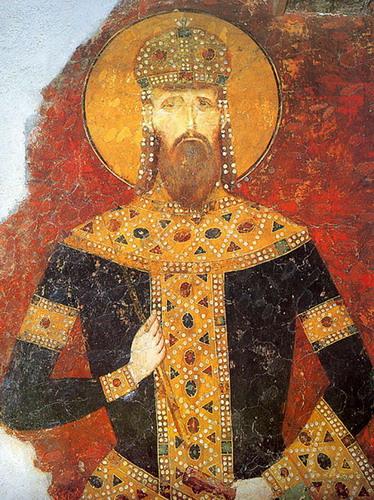 Фреска у манастиру Богородица Љевишка која приказује краља Стефана Уроша III Милутина са краљевским инсигнијама -- круном, скиптром у десној руци, и краљевској одори.