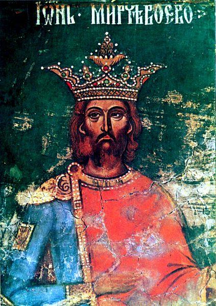 **Мирча I Старији**, влашки војвода (1386–1418), на фресци израђеној за његовог живота у Арђешкој епископији, данас у Румунији.