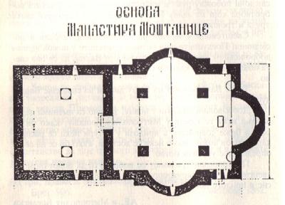 Тлоцрт манастира Моштаница.