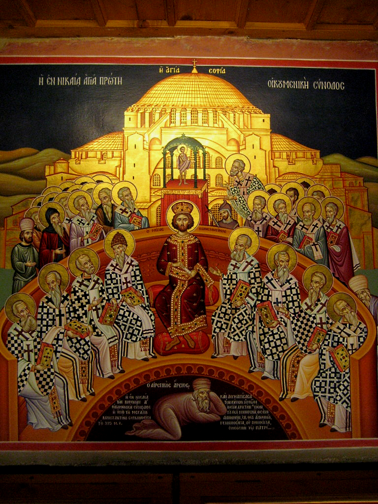 Никејски сабор 325. године. На фресци су приказани цар Константин велики и црквени оци. Арије се налази испод њихових ногу. Манастир Мегали Метеорон у Грчкој.