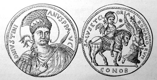 Цртеж златног медаљона 535. цара Јустинијана искованог у част победе над Вандалима. На медаљону се наглашава Јустинијанова формална улога у успешном ратном походу.