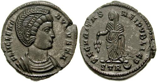 Бронзани новац са ликом августе Хелене, Константинове мајке, искован после 324. године. Царица носи дијадему као симбол владарског достојанства. На реверсу је симболично приказана Сигурност државе.