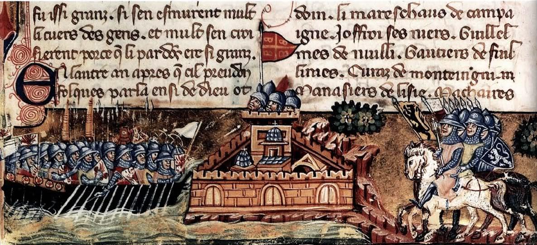 Минијатура на којиј је приказана **опсада Цариграда 1204. године**, налази се у венецијанснком рукопису из око 1330. године у коме је исписано Вилардуеново дело.
