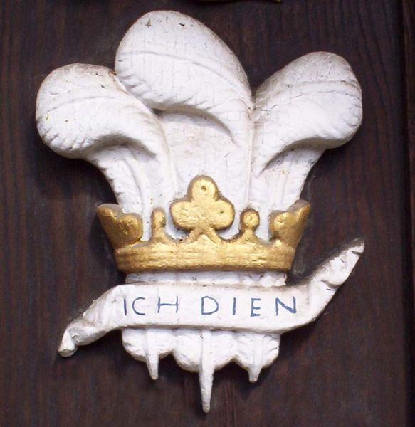 Грб принца од Велса и девиза //Ich Dien//