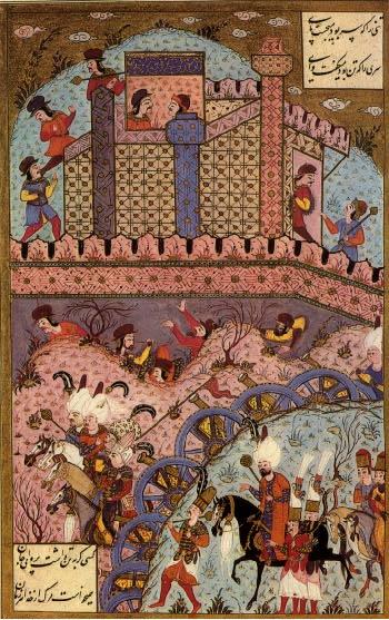 На слици је приказана Опсада Београда 1521. године. Минијатура из збирке Сулејманија (16. век)