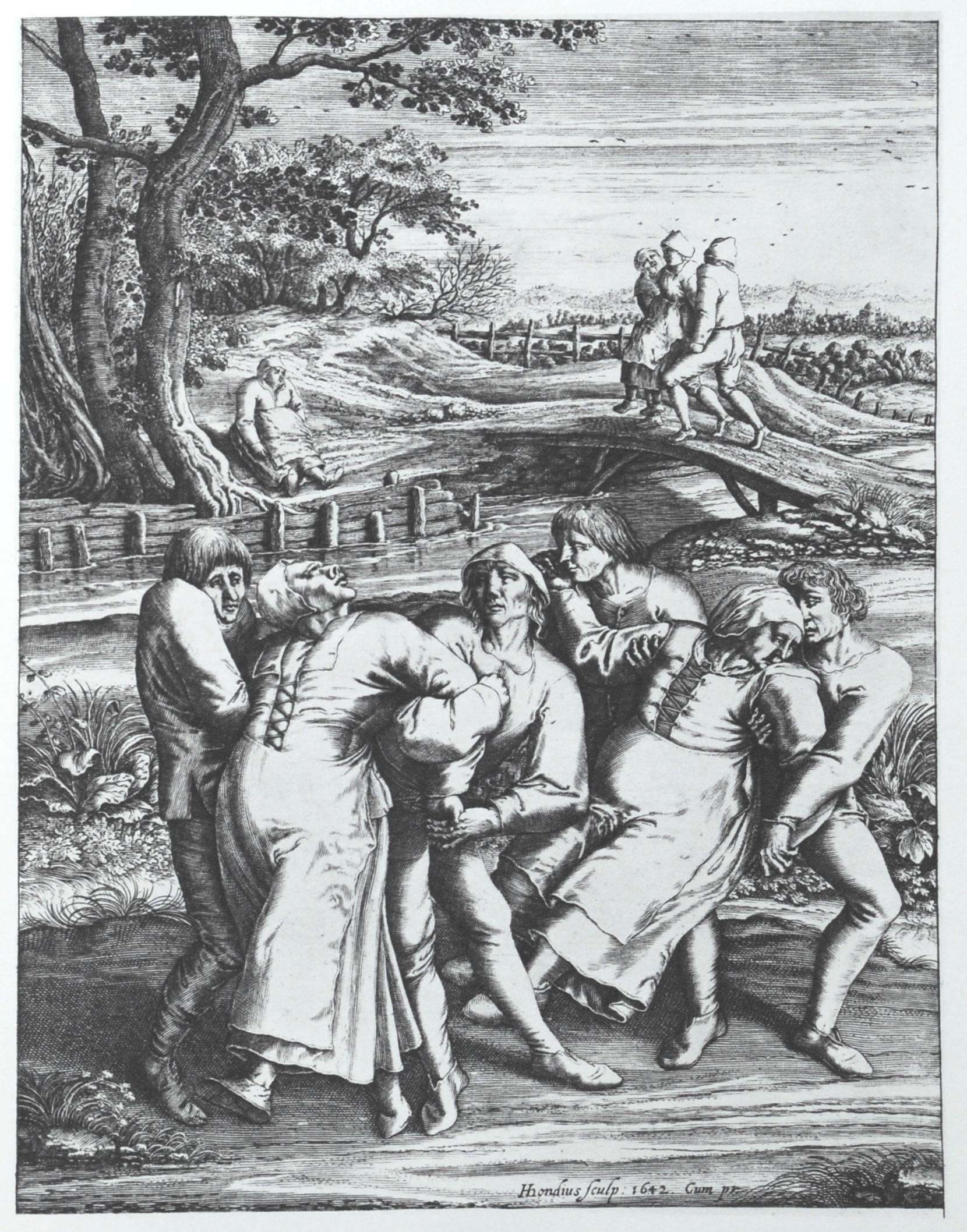 Опседнути играчи на путу ка цркви у Моленбек Сан Жану у Белгији. Гравура Хендрикса Хондијуса (1642) урађена према цртежу Питера Бројгела Старијег (1564).