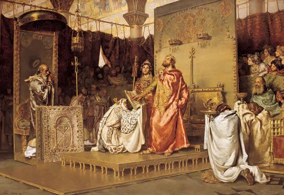 Рекаред прихвата хришћанство, насликао Муњоз Деграин (1888). Слика се налази у згради Шпанског сената.