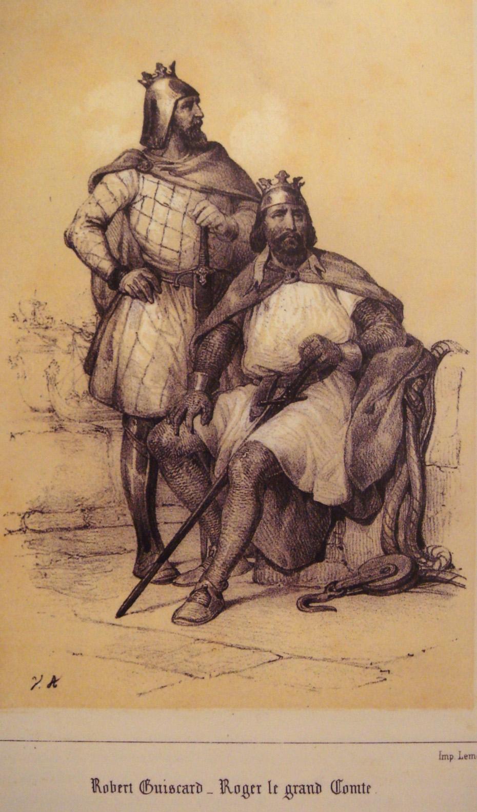"""Роберт Гвискар (стоји), са Руђером Сицилијанским, својим братом. Гравира из 19. века, штампар Лемерјер. Репродукција у """"Les Normands en Sicile"""", Антонино Бутита."""