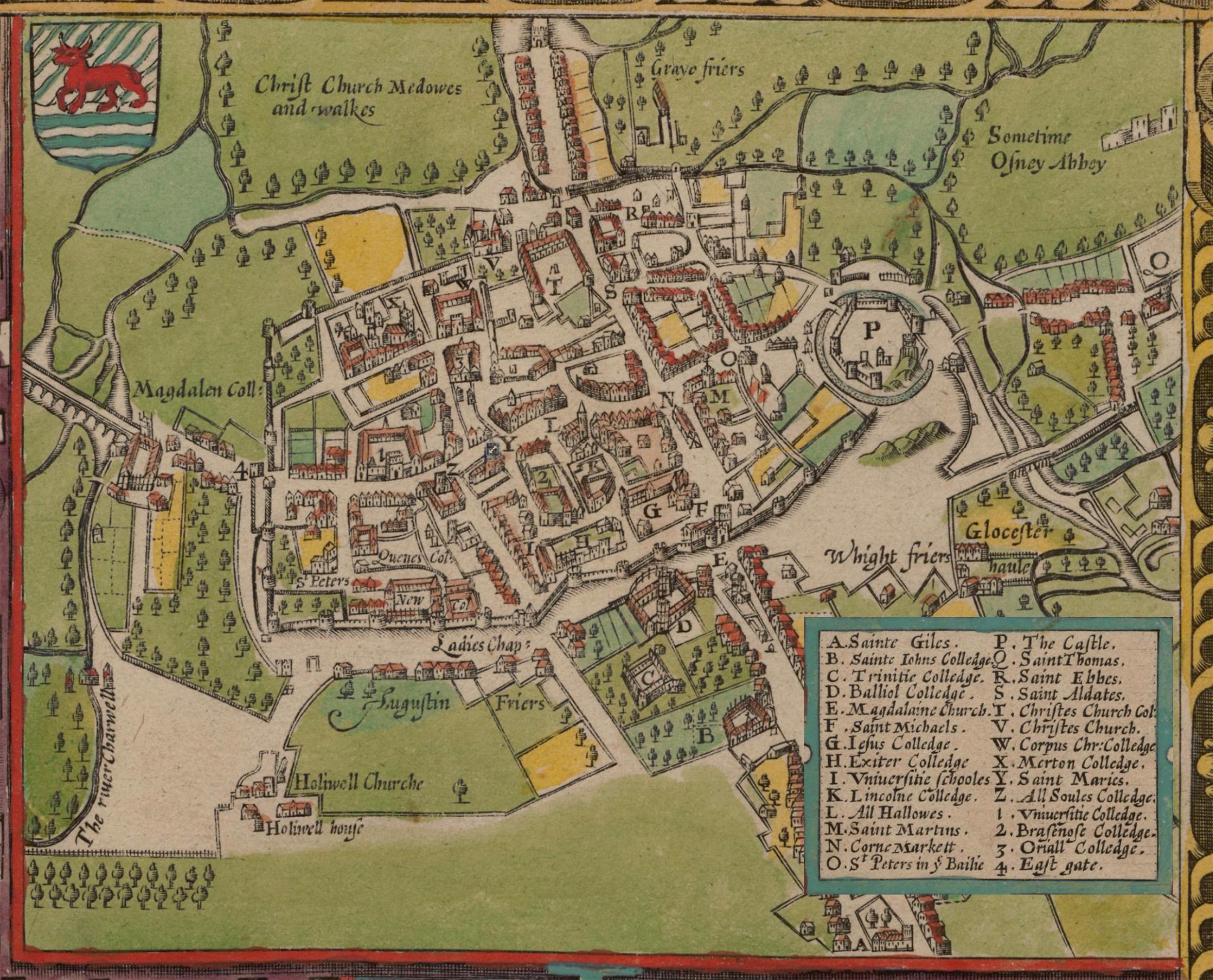 **Карта Оксфорда** Џона Спида из 1605. године