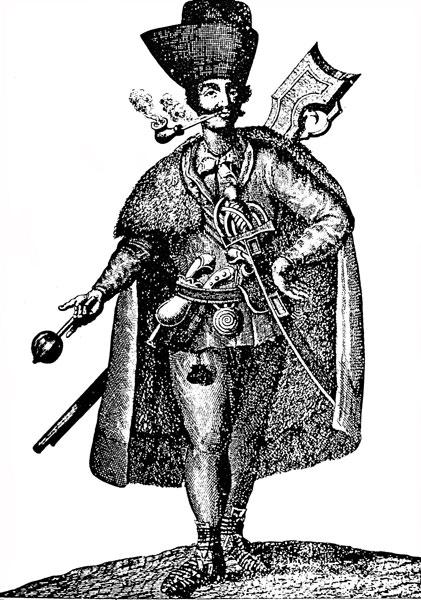 **Србин војник (граничар) у Срему**, израђено према енглеској гравири из 1742. године.