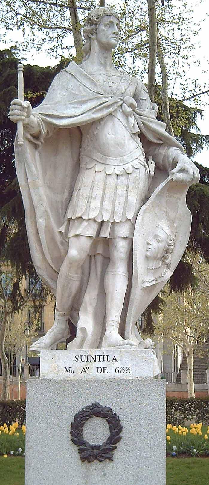 Скулптура Свинтиле у парку Ретиро, Мадрид. Свинтила је успео да уништи византијску провинцију Спанију и да уједини цело Иберијско полуострво под једном круном