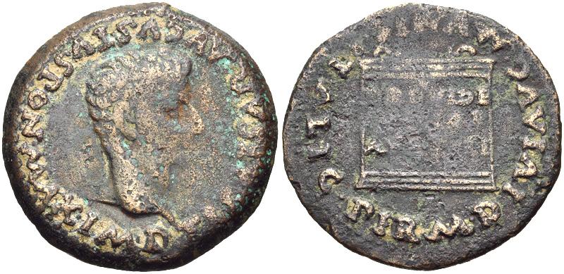 Новчић цара Тиберија (14—37) искован у Италици, Хиспанија