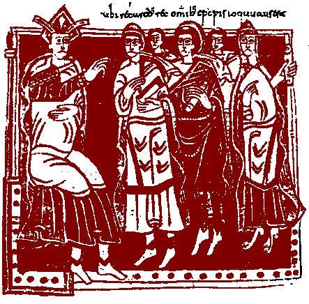 Трећи сабор у Толеду, 589. Минијатура из кодекса Вигилануса (145. лист), данас се налази у Ескоријалу у Мадриду.