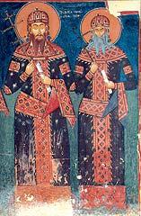 **Фреска из манастира Псача**, на којој су приказани цар Урош и краљ Вукашин