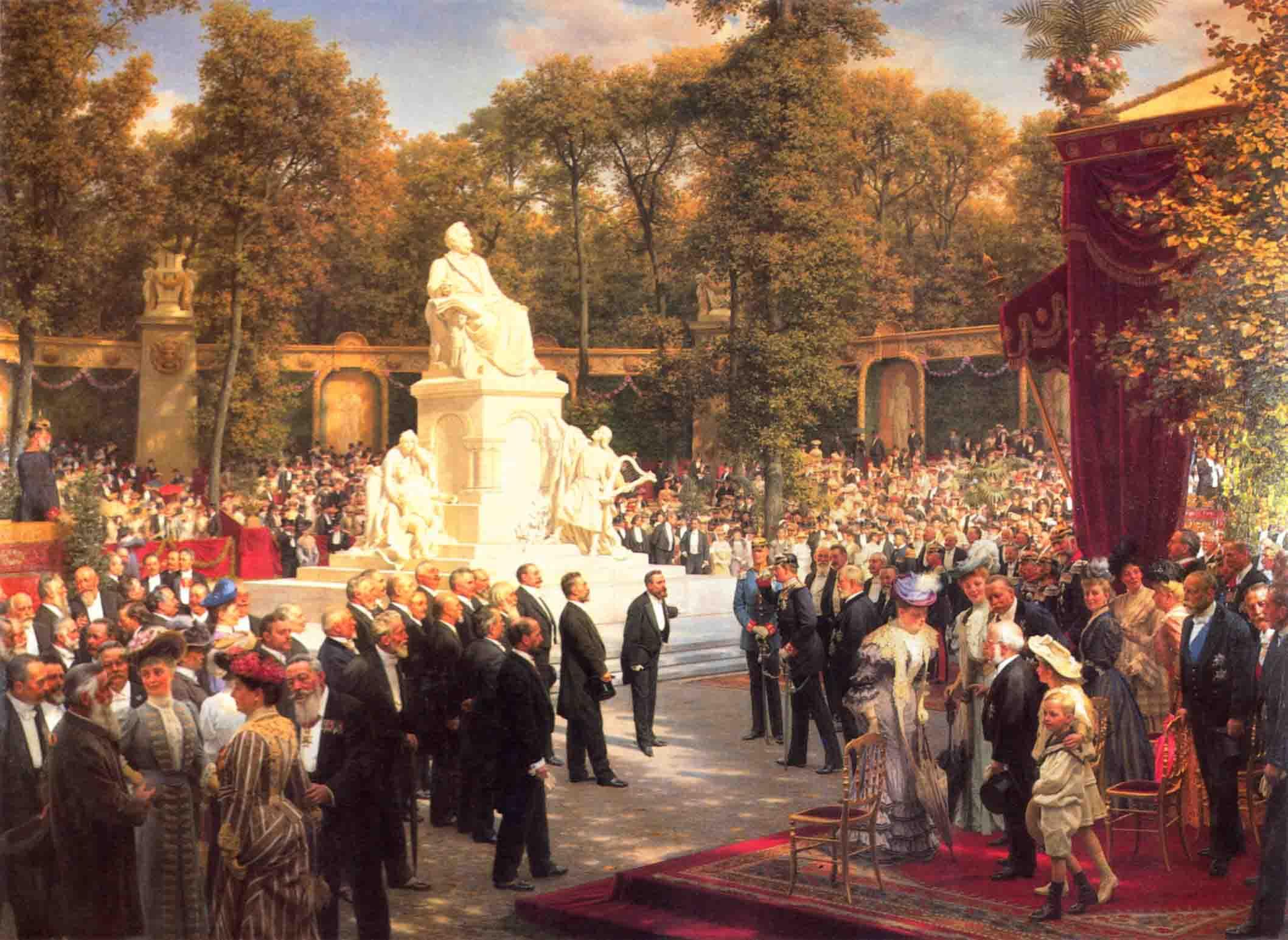 Откривање Вагнеровог споменика, рад Антона фон Вернера (1843--1915) из 1908. године.