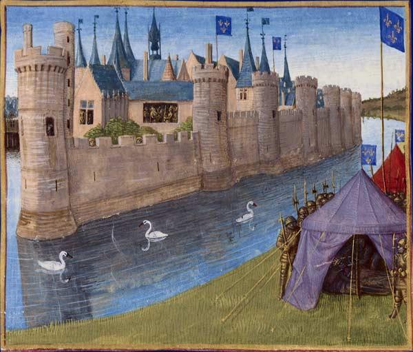 **Убиство Зигоберта I**. Илуминација Жана Фокеа из Тура (1455--1460), Париз.